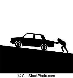 coche, empujar, silueta, hombre