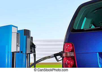 coche, en, erdgas, estación