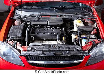 coche, en, reparación automóviles, shop.
