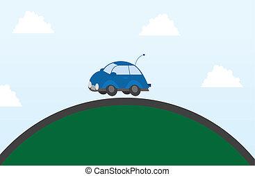 coche, en, un, colina