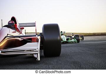 coche, encima de cierre, rojo, carrera