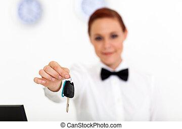 coche, encima, mano, cliente, llave, alquiler