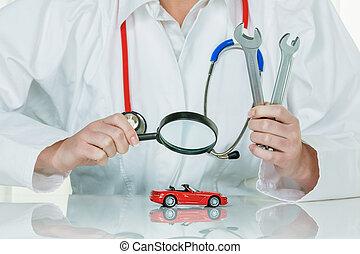 coche, es, ser, examinado, por, doctor