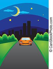 coche, escape, ciudad