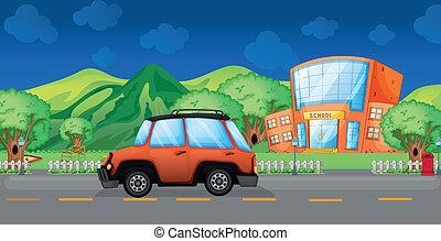 coche, escuela, paso