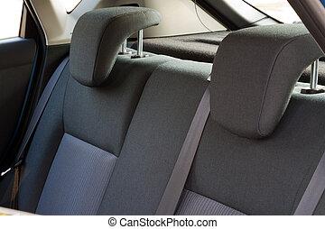 coche, espalda, asientos