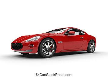 coche, espalda, rojo, vista