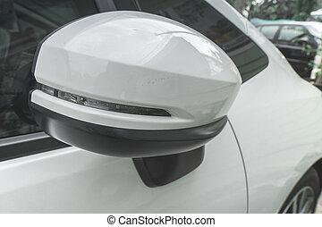 coche, espejo retrovisor, de, coche.