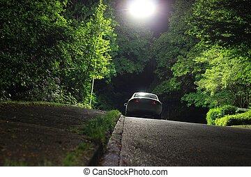 coche, estacionado, noche