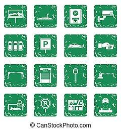 coche, estacionamiento, iconos, conjunto, grunge