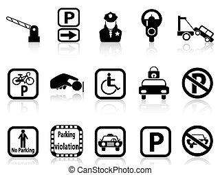 coche, estacionamiento, iconos