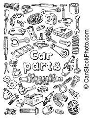 coche, estilo, partes, dibujo, freehand