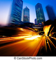 coche, exceso de velocidad, por, ciudad
