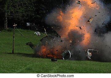 coche, explosión
