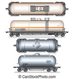 coche, ferrocarril, tanque