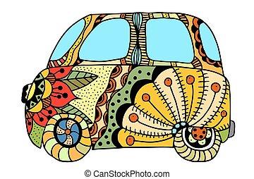 coche, furgoneta, hippie, vendimia, mini