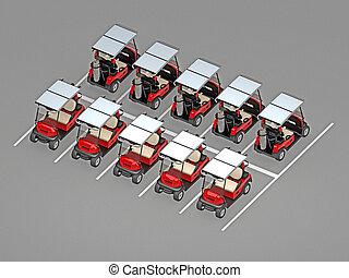 coche, golf, estacionamiento