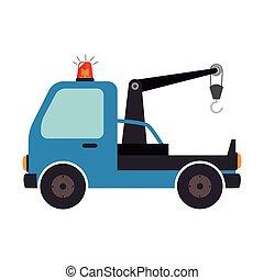coche, grúa, camión, aislado, diseño