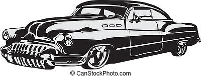 coche, hecho, eps, retro