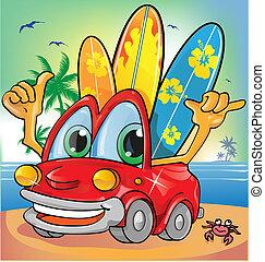 coche, holyday, plano de fondo, verano