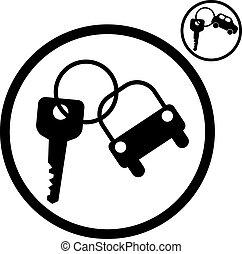 coche, icon., vector, llave, simplistic