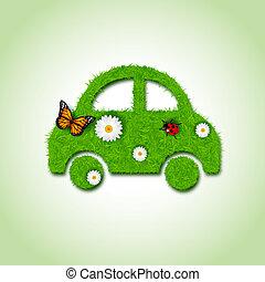 coche, icono, de, pasto o césped, plano de fondo