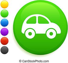 coche, icono, en, redondo, internet, botón