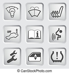 coche, iconos, 4, tablero de instrumentos