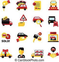 coche, iconos, conjunto, concesión