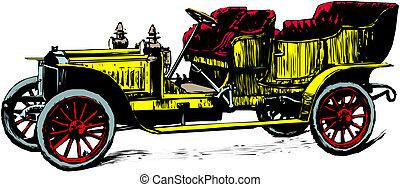 coche, ilustración, antiguo