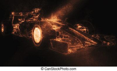 coche, -, ilustración, uno, humo, naranja, fórmula