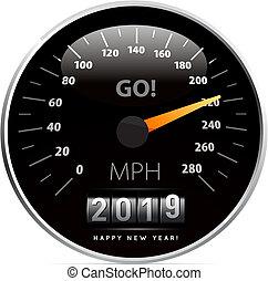 coche, ilustración, vector, 2019, calendario, velocímetro, blanco