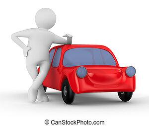 coche, imagen, aislado, man., rojo, 3d