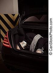 coche, imagen, hombres, joven, ató, negro, tronco, businessman., blanco, raptado, acostado