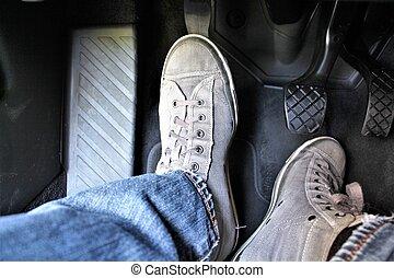 coche, imagen, pedal