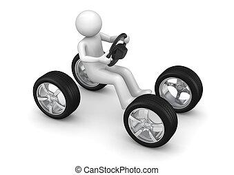 coche, imaginario, conducción, hombre