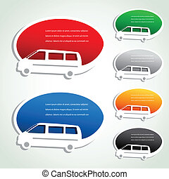 coche, indicadores, -, entrega, vector, transporte