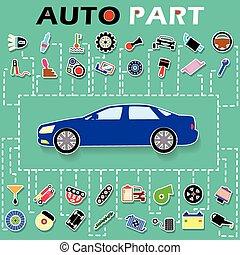 coche, información, partes, perforado, plano de fondo, ...