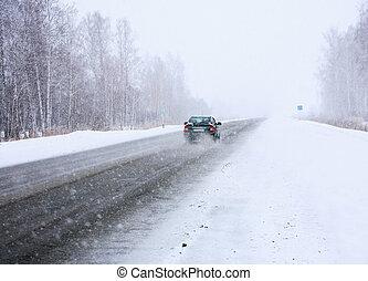 coche, invierno, manera
