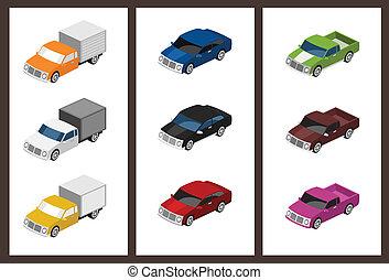 coche, isométrico, conjunto