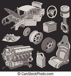 coche, isométrico, partes, iconos