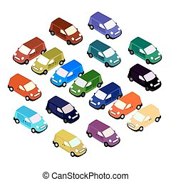 coche, isometric., coche, conjunto, de, diferente, color., vector, ilustración
