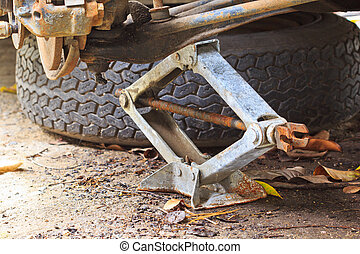 coche, jack-screw, elevación, mecánico
