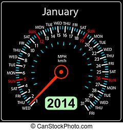 coche, january., vector., año, 2014, calendario, velocímetro