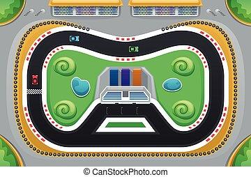 coche, juego, carreras, visto, sobre