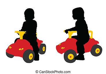 coche, juguete, bebé, grande, asientos