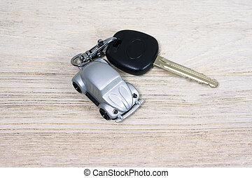 coche, juguete, madera, llave, tabla