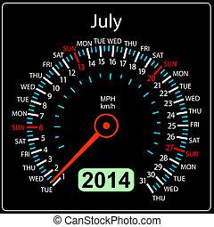 coche, july., vector., año, 2014, calendario, velocímetro