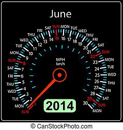 coche, june., vector., año, 2014, calendario, velocímetro