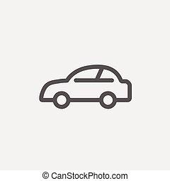 coche, línea fina, icono
